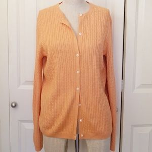 BROOKS BROTHERS Silk Cashmere Cable Knit Cardigan